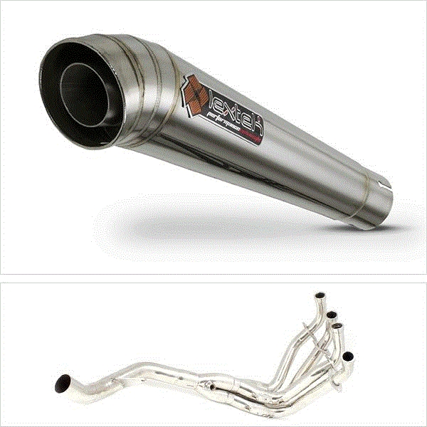 Lextek MP4 S/Steel Megaphone Exhaust System (Single) for Kawasaki Z1000 (10-19)