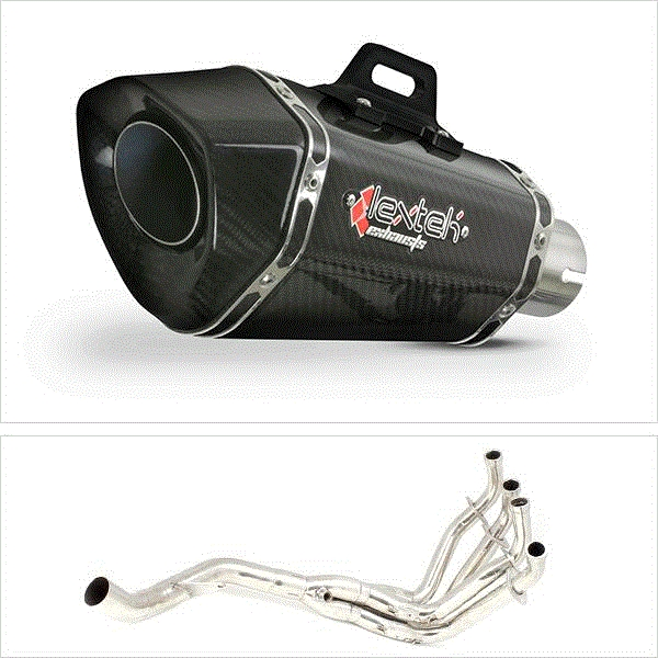 Lextek XP8C Carbon Fibre Hexagonal Exhaust System (Single) for Kawasaki Z1000 (10-19)