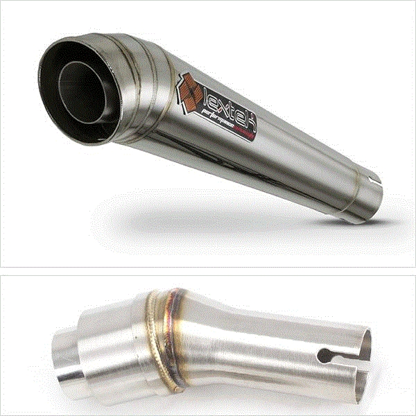 Lextek MP4 S/Steel Megaphone Exhaust with Link Pipe for Kawasaki 250 (08-12)