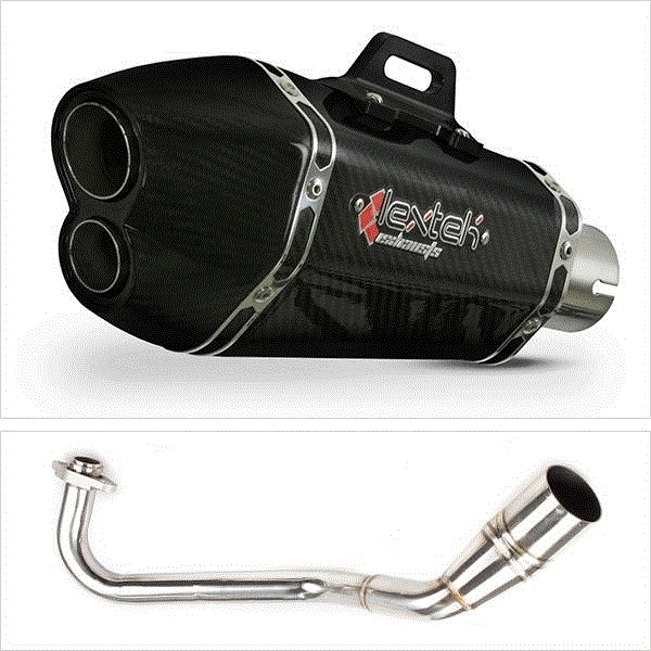 Lextek XP13C Carbon Fibre Hexagonal Exhaust System for Peugeot Speedfight 3 125