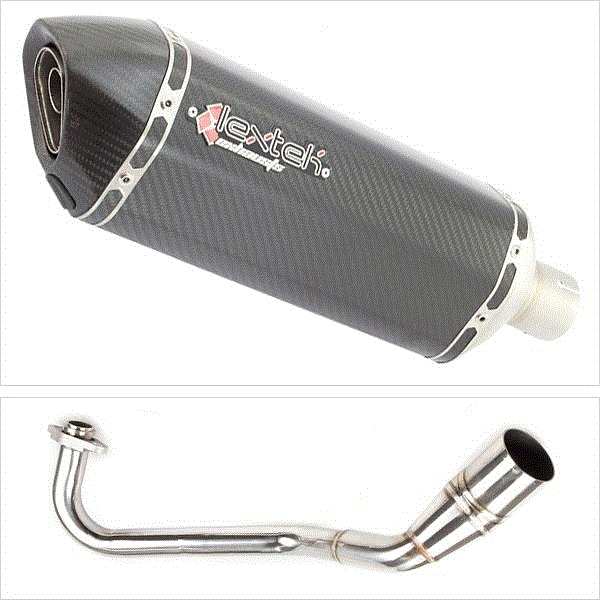 Lextek SP8C Carbon Fibre Hexagonal Exhaust System for Peugeot Speedfight 3 125