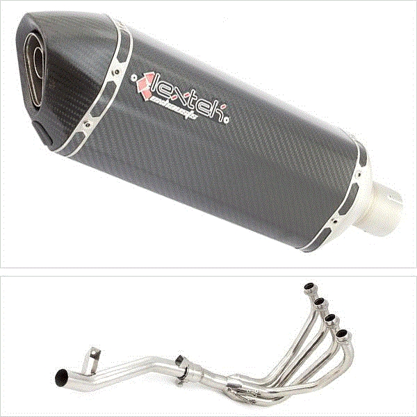 Lextek SP8C Carbon Fibre Hexagonal Exhaust System for Suzuki GSF 600 Bandit (95-04) GSF 650 (05-06)