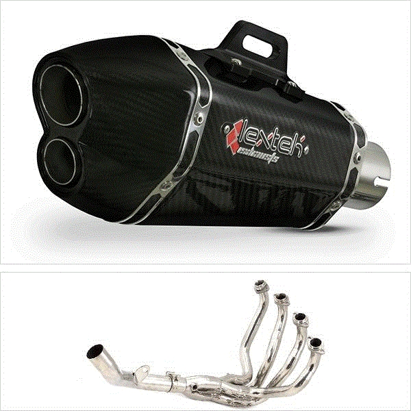Lextek XP13C Carbon Fibre Hexagonal Exhaust System for Kawasaki Z800 (13-16)