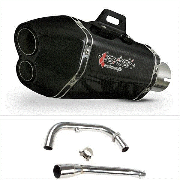 Lextek XP13C Carbon Fibre Hexagonal Exhaust System for Lexmoto Michigan E3/E4