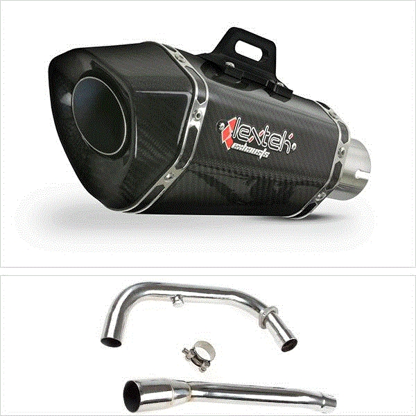 Lextek XP8C Carbon Fibre Hexagonal Exhaust System for Lexmoto Michigan E3/E4