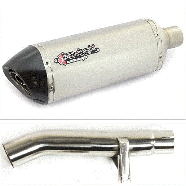 Lextek SP1 Matt S/Steel Hexagonal Exhaust Kit with Link Pipe for Honda CBF 600 (04-07)