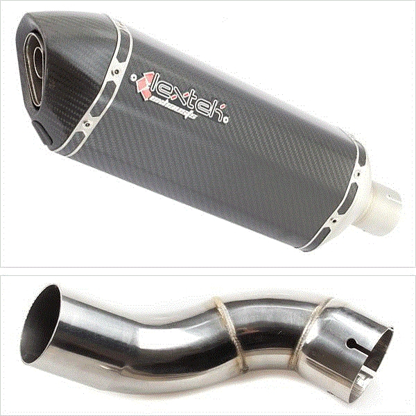 Lextek SP8C Carbon Fibre Hexagonal Exhaust with Link Pipe for Kawasaki Z900 (17-19)