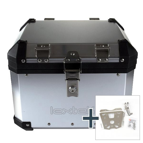 Lextek Aluminium Top Box 33L with Mounting Plate for KTM 1050 Adventure (16) Silver