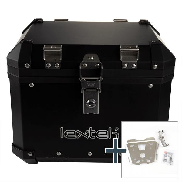 Lextek Aluminium Top Box 33L with Mounting Plate for KTM 1290 Adventure (15-16) Black