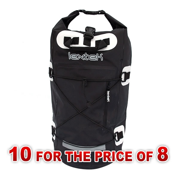 Lextek Black Waterproof Drybag Backpack 30L (10 for the price of 8)