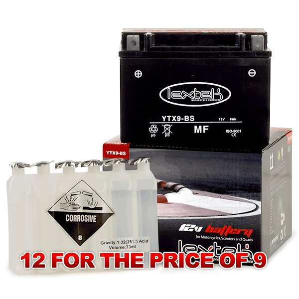 Lextek Wholesale  -  YTX9-BS Motorcycle Batteries (12 for the price of 9)
