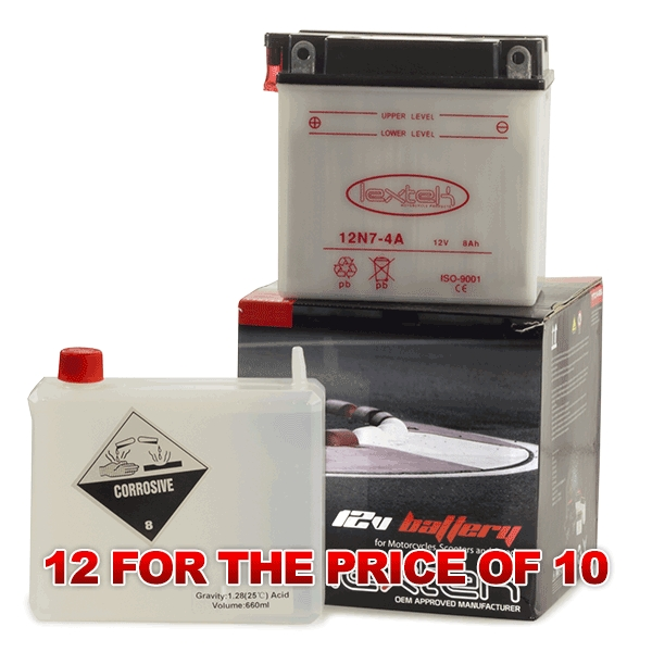 Lextek Wholesale  -  12N7-4A Motorcycle Batteries (12 for the price of 10)