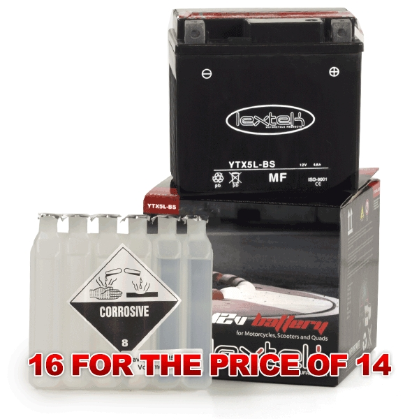 Lextek Wholesale  -  YTX5L-BS Motorcycle Batteries (16 for the price of 14)