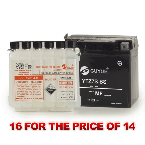 Lextek Wholesale  -   LTZ7S-BS Motorcycle Batteries (16 for the price of 14)